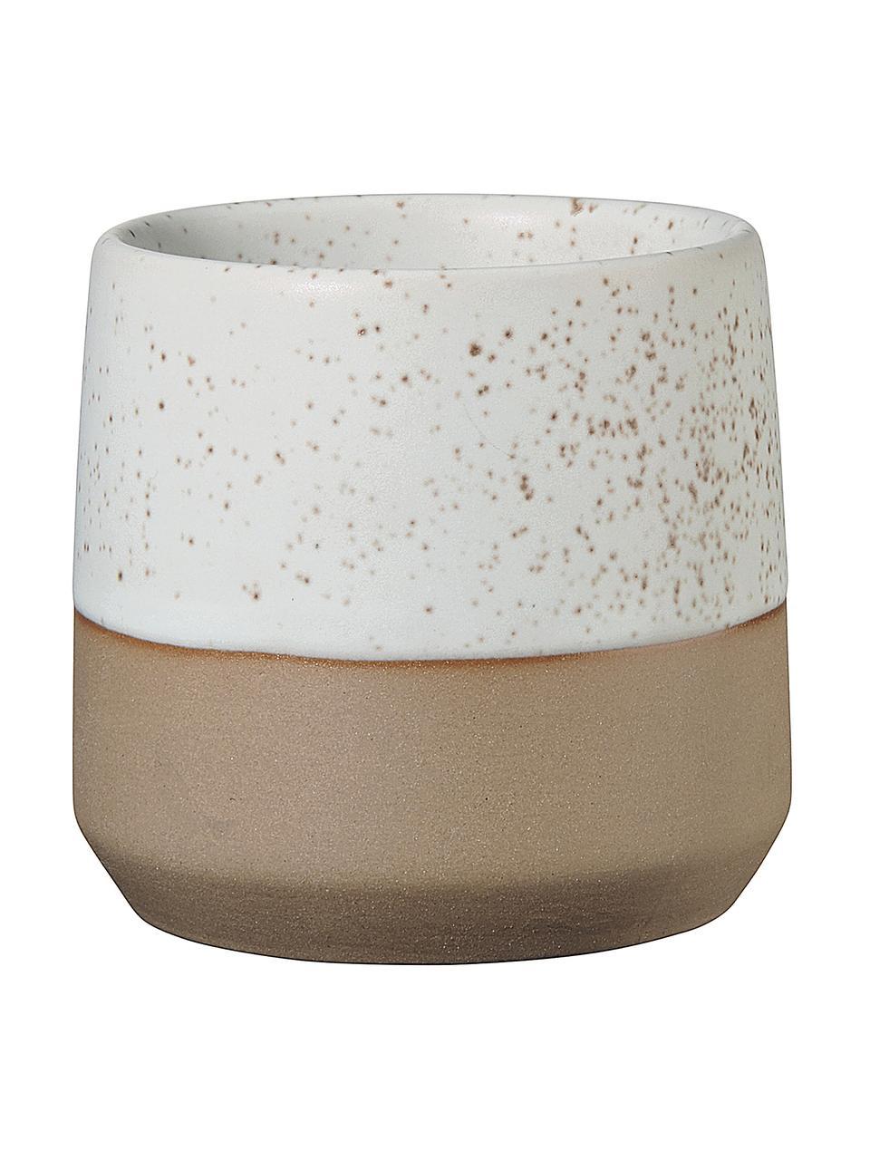 Tazza senza manico marrone/beige opaca Caja, Gres, Beige, marrone, Ø 7 x Alt. 7 cm