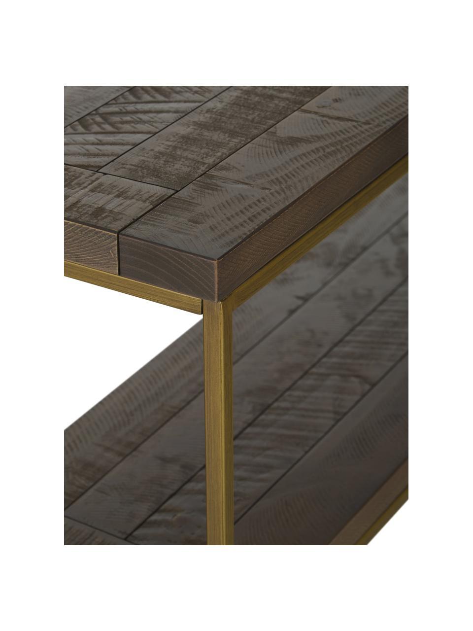Konsole Dalton im Industrial Design, Gestell: Metall, lackiert, Ablageflächen: Graubraun mit sichtbarer Holzstruktur Gestell: Goldfarben, B 121 x T 31 cm