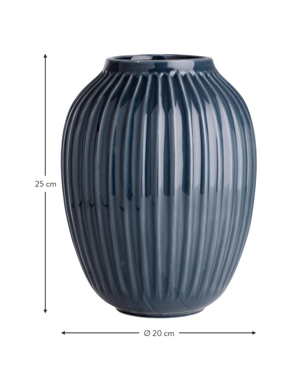 Handgemaakte design vaas Hammershøi, Porselein, Antraciet, Ø 20 x H 25 cm