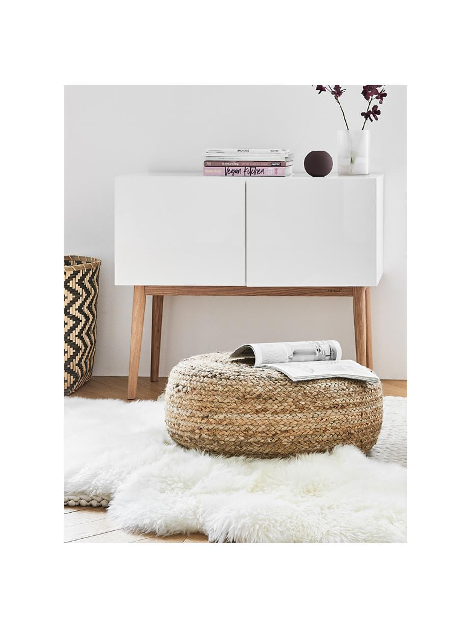 Kleine dressoir High on Wood in wit hoogglans, Frame: PU gelakt MDF, Poten: massief eikenhout, Wit, naturel, 90 x 80 cm