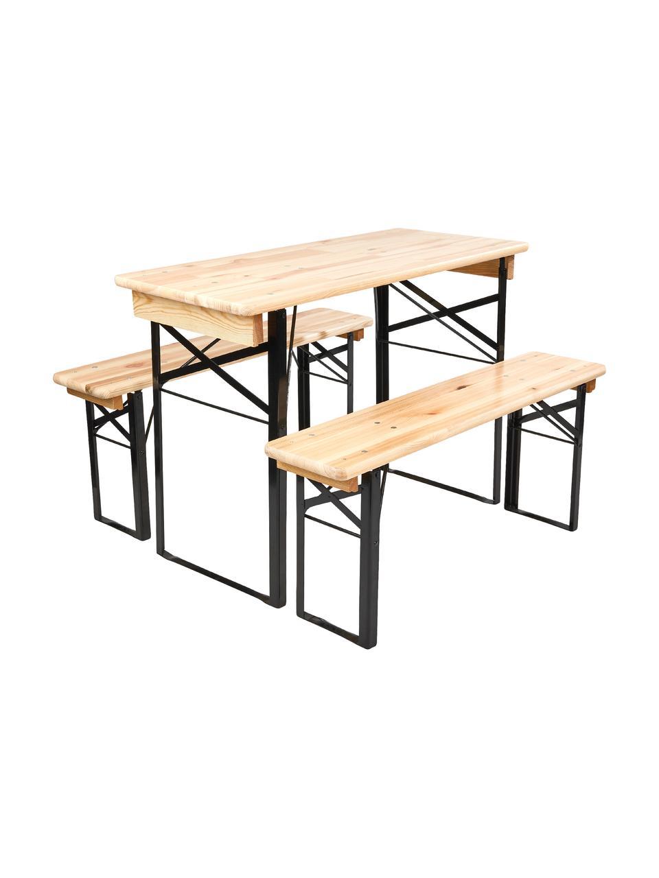 Mini komplet ogrodowy Good Company, Drewno sosnowe, metal lakierowany, Drewno sosnowe, czarny, Komplet z różnymi rozmiarami