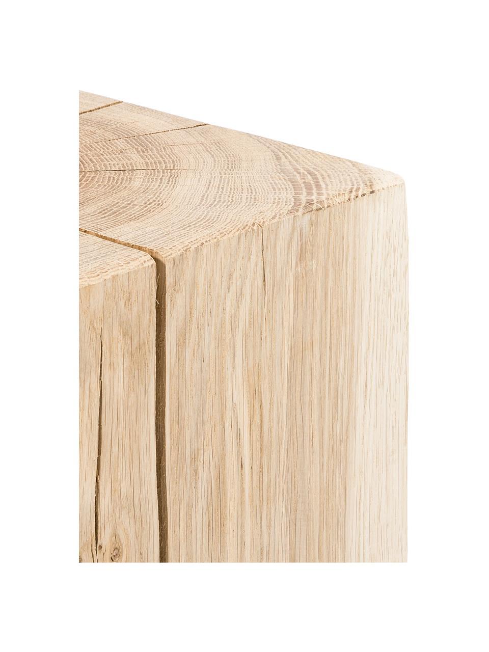 Sgabello in legno di quercia massiccio Block, Legno di quercia, Legno di quercia, Larg. 29 x Alt. 40 cm