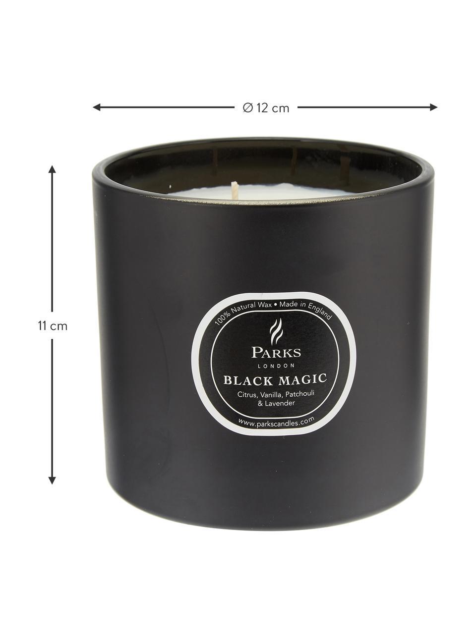 Świeca zapachowa z trzema knotami Black Magic (cytrus i wanilia), Czarny, biały, Ø 12 x W 11 cm