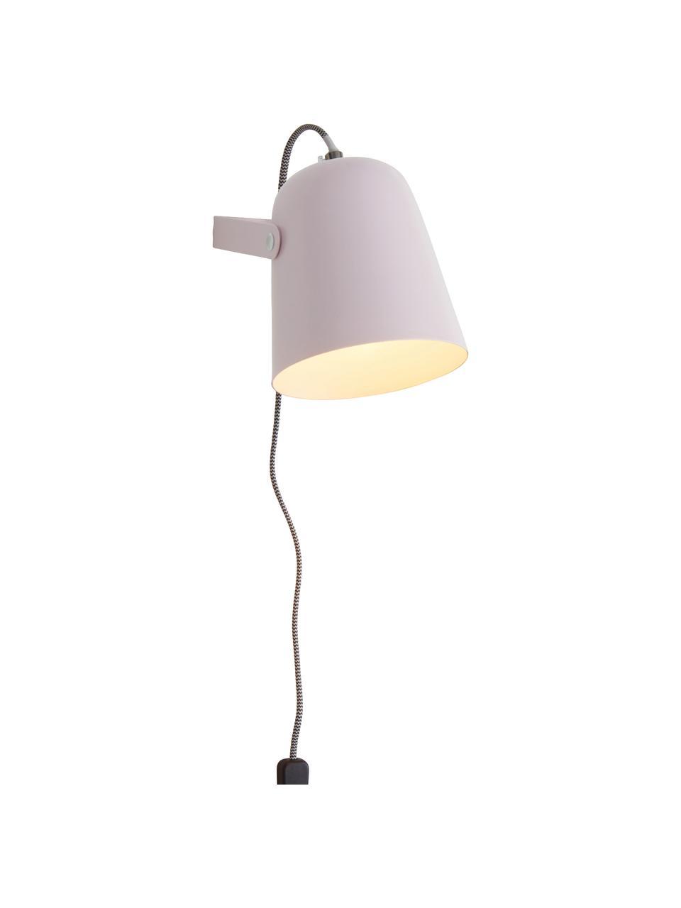 Wandleuchte Iluminar mit Stecker in Rosa, Lampenschirm: Metall, lackiert, Rosa, 14 x 18 cm