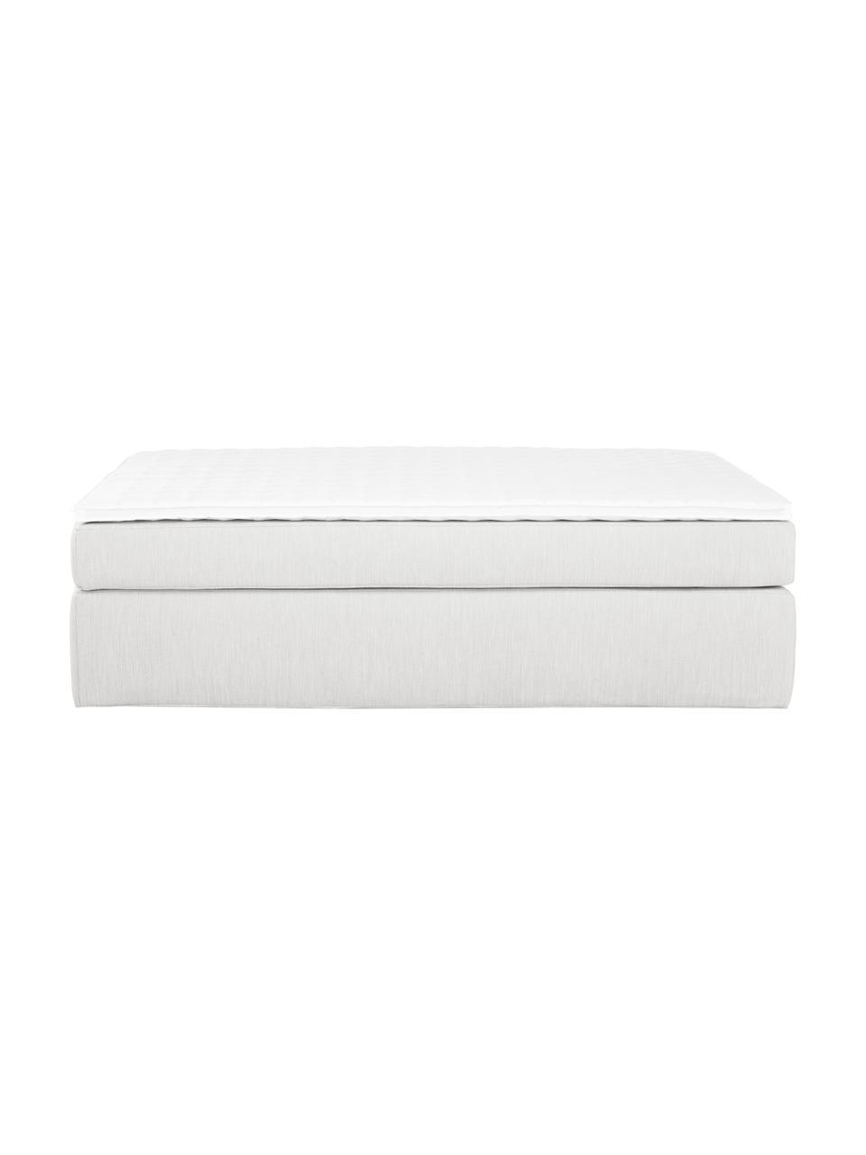 Boxspringbett Enya ohne Kopfteil in Hellgrau, Matratze: 5-Zonen-Taschenfederkern, Füße: Kunststoff, Webstoff Hellgrau, 200 x 200 cm