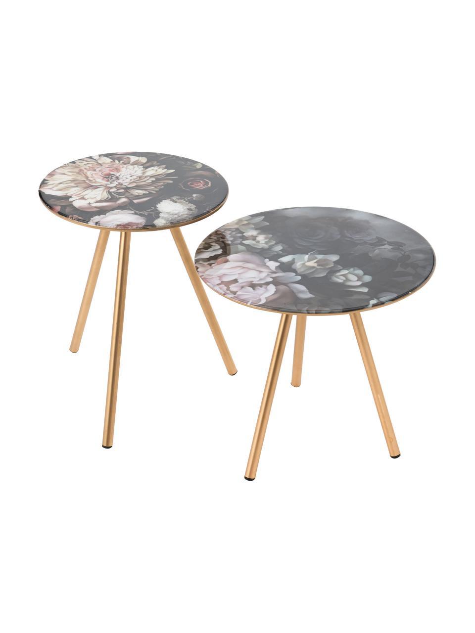 Tavolino con motivo floreale Rosa, Gambe: metallo, Nero, dorato, multicolore, Ø 35 x Alt. 38 cm