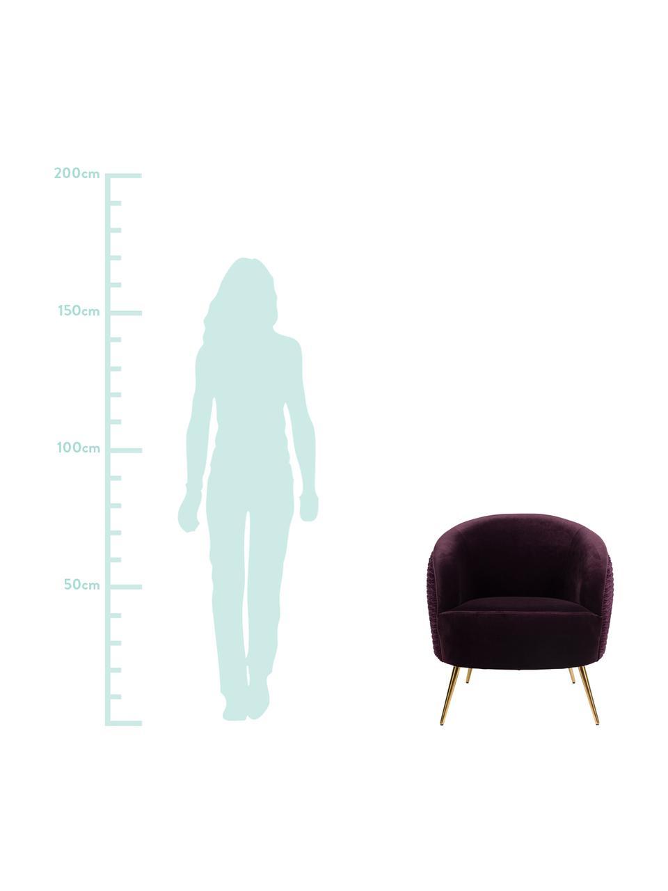 Samt-Cocktailsessel So Curvy in Lila, Bezug: Polyestersamt Der hochwer, Füße: Edelstahl, galvanisiert, Samt Lila, B 78 x T 77 cm
