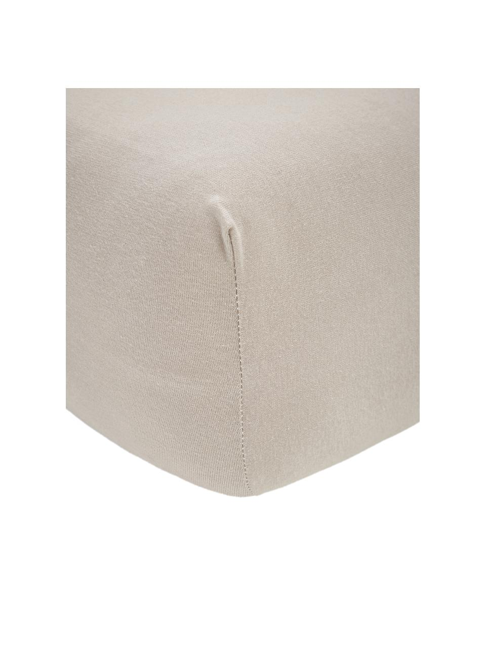 Boxspring-Spannbettlaken Lara in Taupe, Jersey-Elasthan, 95% Baumwolle, 5% Elasthan, Taupe, 200 x 200 cm