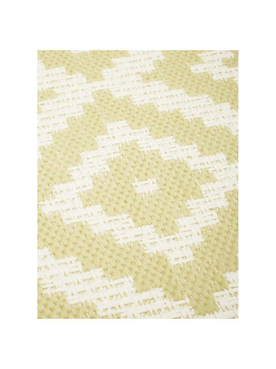 Passatoia fantasia gialla/bianca da interno-esterno Miami, 86% polipropilene, 14% poliestere, Bianco, giallo, Larg. 80 x Lung. 250 cm