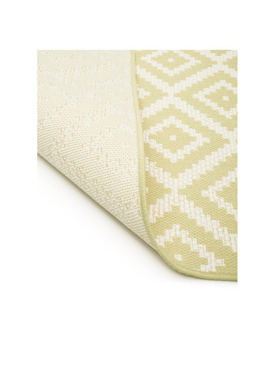 Gemusterter In- & Outdoor-Läufer Miami in Gelb/Weiß, 86% Polypropylen, 14% Polyester, Weiß, Gelb, 80 x 250 cm
