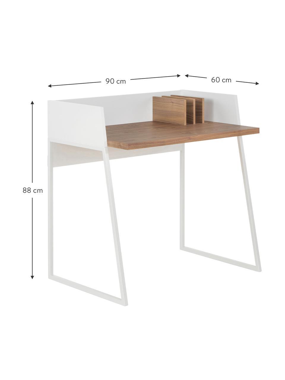 Kleiner Schreibtisch Camille mit Ablage, Beine: Metall, lackiert, Walnussholz, Weiß, B 90 x T 60 cm