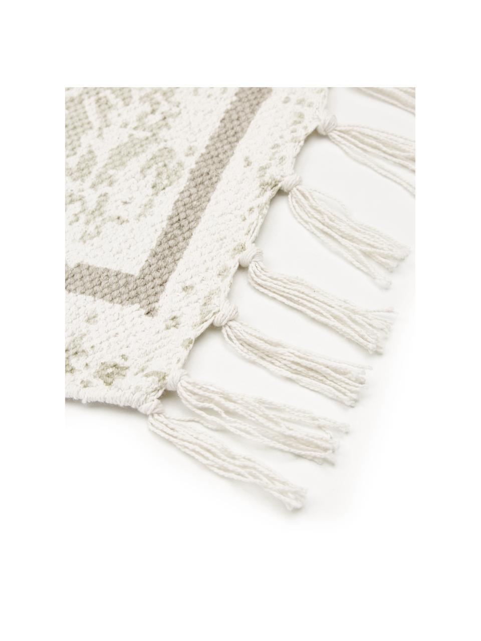 Tappeto vintage in cotone beige/taupe tessuto a mano Jasmine, Beige, Larg. 50 x Lung. 80 cm (taglia XXS)