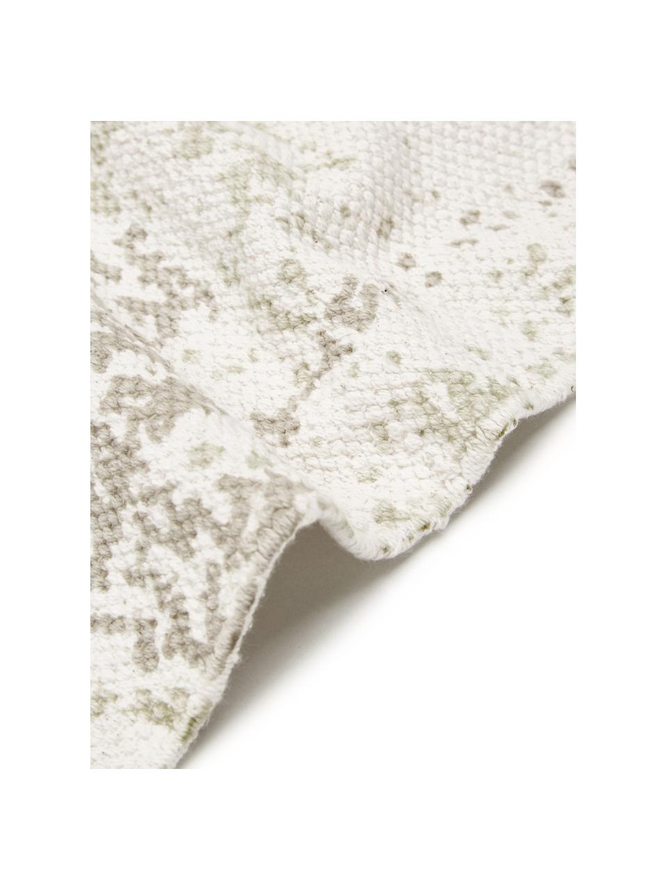 Handgewebter Baumwollteppich Jasmine in Beige/Taupe im Vintage-Style, Beige, B 50 x L 80 cm (Größe XXS)