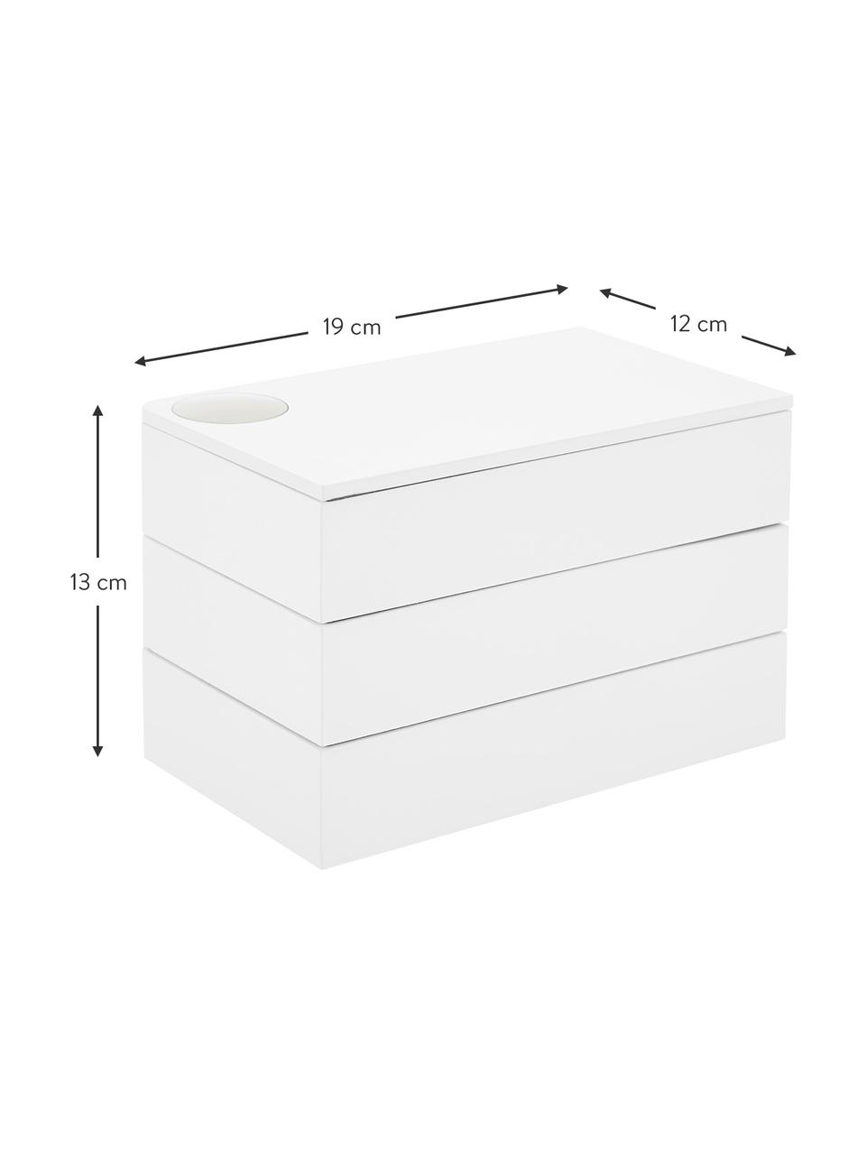 Schmuckbox Spindle, Buchenholz, lackiert, Weiß, 19 x 13 cm