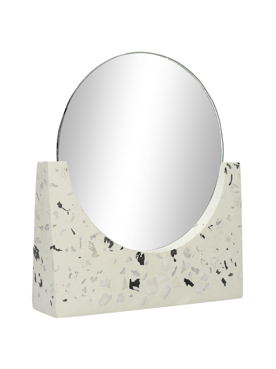 Runder Kosmetikspiegel Mirriam mit Terrazzosockel, Sockel: Terrazzo, Spiegelfläche: Spiegelglas, Weiß, 17 x 17 cm