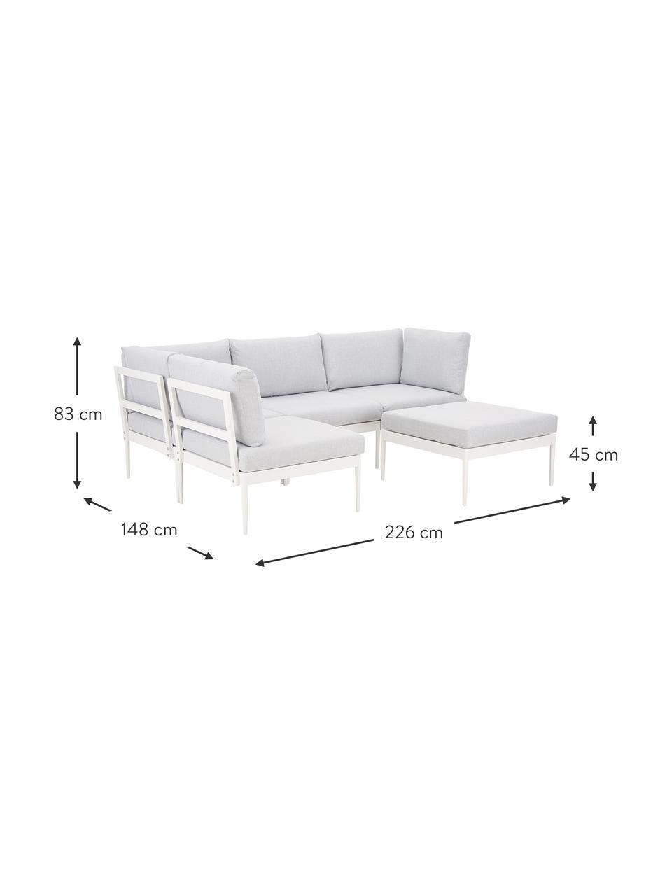 Modulaire tuin loungebank Acton in lichtgrijs, Bekleding: 100% polyester, Frame: gepoedercoat metaal, Grijs, 226 x 148 cm