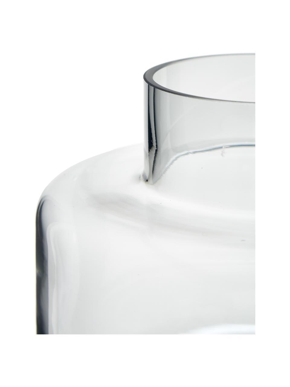 Jarrón de vidrio soplado Hedria, pequeño, Vidrio, Gris oscuro, Ø 18 x Al 16 cm