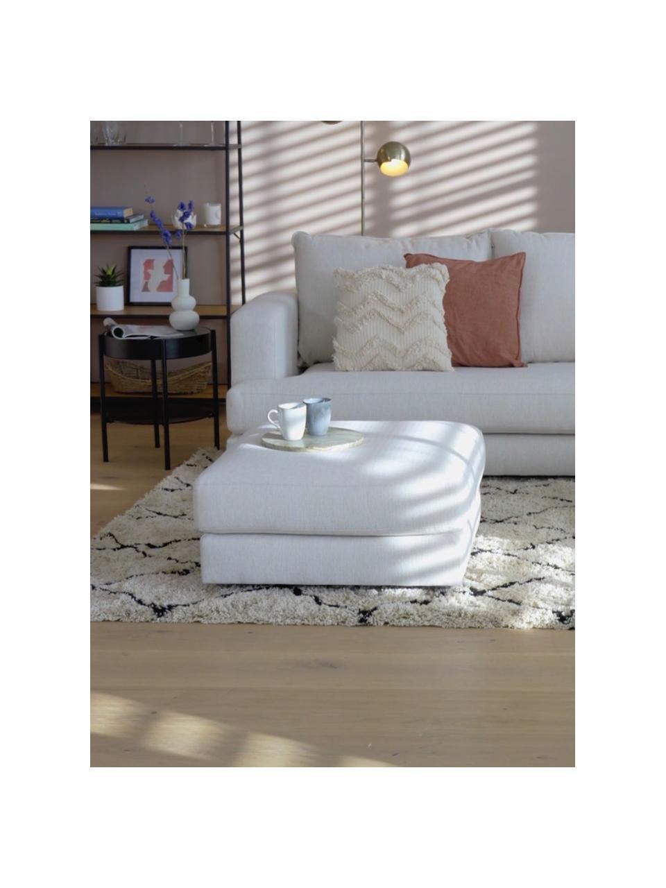 Voetenbank Tribeca in beige, Bekleding: polyester De bekleding is, Frame: massief grenenhout, Poten: massief gelakt beukenhout, Geweven stof beige, 80 x 40 cm