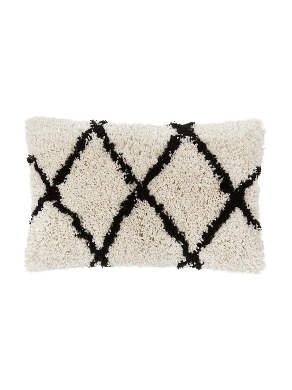 Puszysta poszewka na poduszkę Naima, Beżowy, czarny, S 30 x D 50 cm