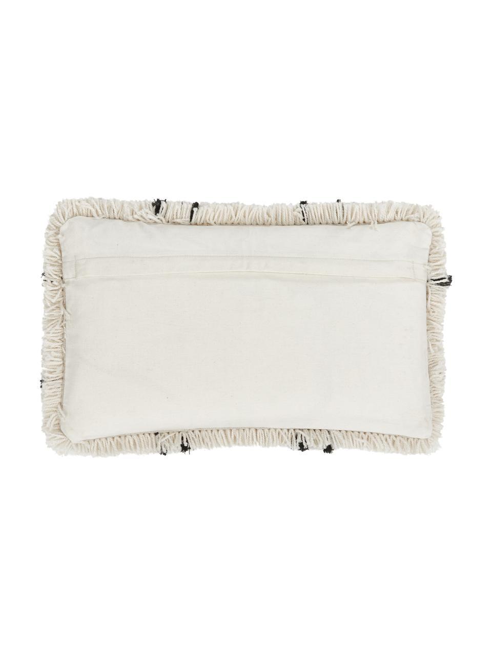 Flauschige Kissenhülle Naima in Beige/Schwarz, Vorderseite: 100% Polyester, Rückseite: 100% Baumwolle, Beige,Schwarz, 30 x 50 cm