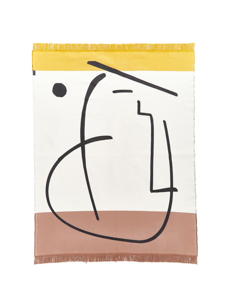 Teppich Goliath Gesicht mit Fransen und geometrischem Muster, 150x200cm, 100% recycelte Baumwolle, Mehrfarbig, B 150 x L 200 cm (Größe S)
