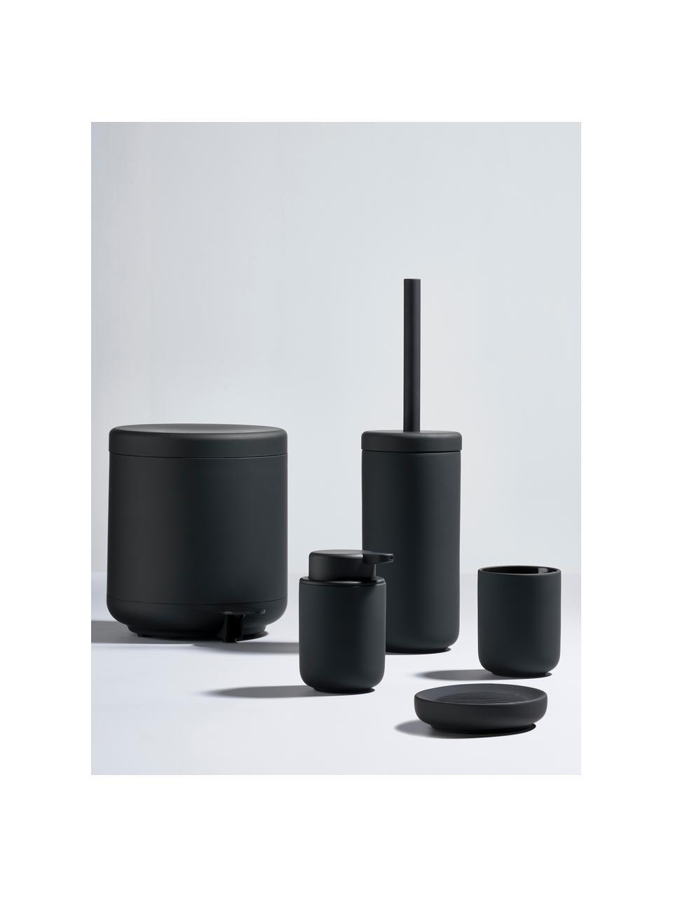 Kubek na szczoteczki z kamionki Ume, Ceramika pokryta miękką w dotyku powłoką (tworzywo sztuczne), Czarny, matowy, Ø 8 x W 10 cm