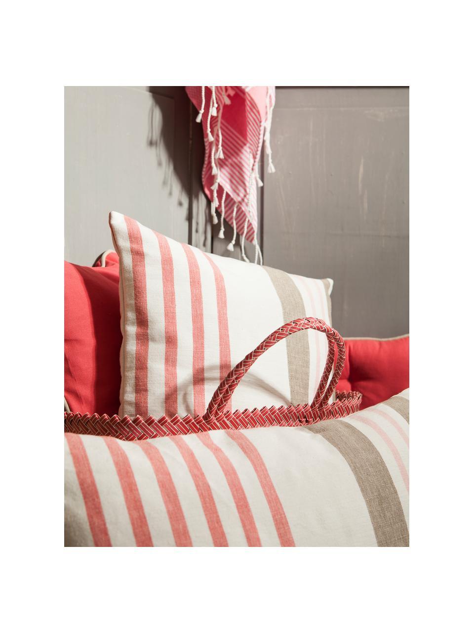 Mehrfarbig gestreiftes Kissen Beach House, mit Inlett, Hülle: 100% Baumwolle, Weiß, Braun, Rosa, 45 x 45 cm