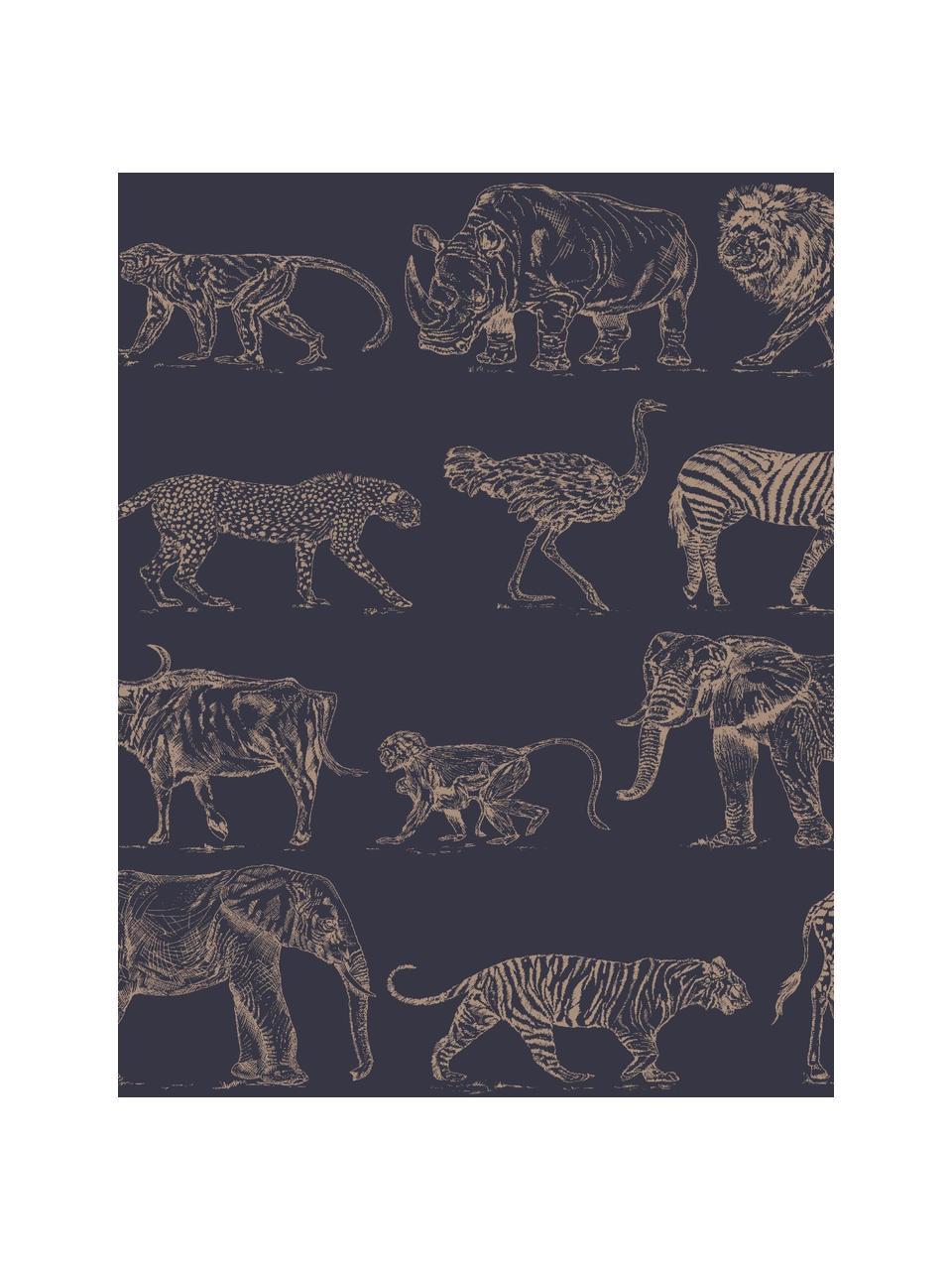 Tapete Safari, Vlies, Dunkelblau, Beige, 52 x 1005 cm