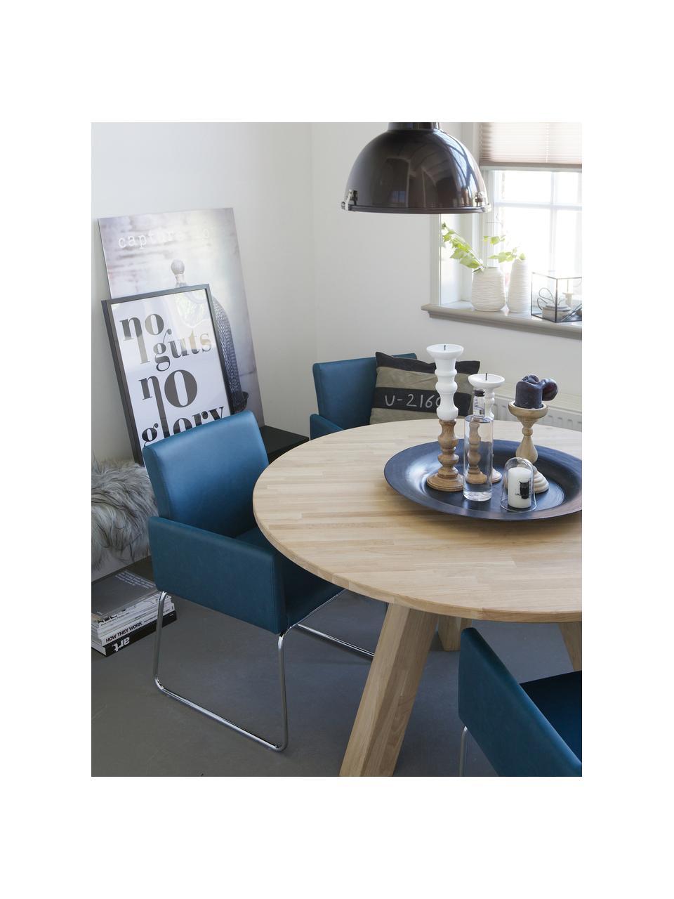 Okrągły stół do jadalni z litego drewna Rhonda, Drewno dębowe, Drewno dębowe, Ø 129 x W 75 cm