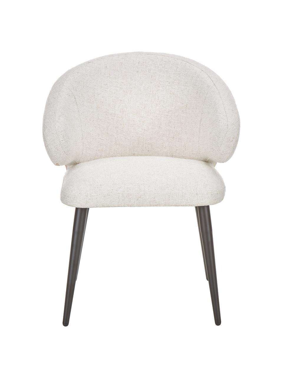 Bouclé armleunstoel Celia in modern design, Bekleding: bouclé (70% polyester, 20, Poten: gepoedercoat metaal, Bouclé crèmewit, B 57 x D 62 cm