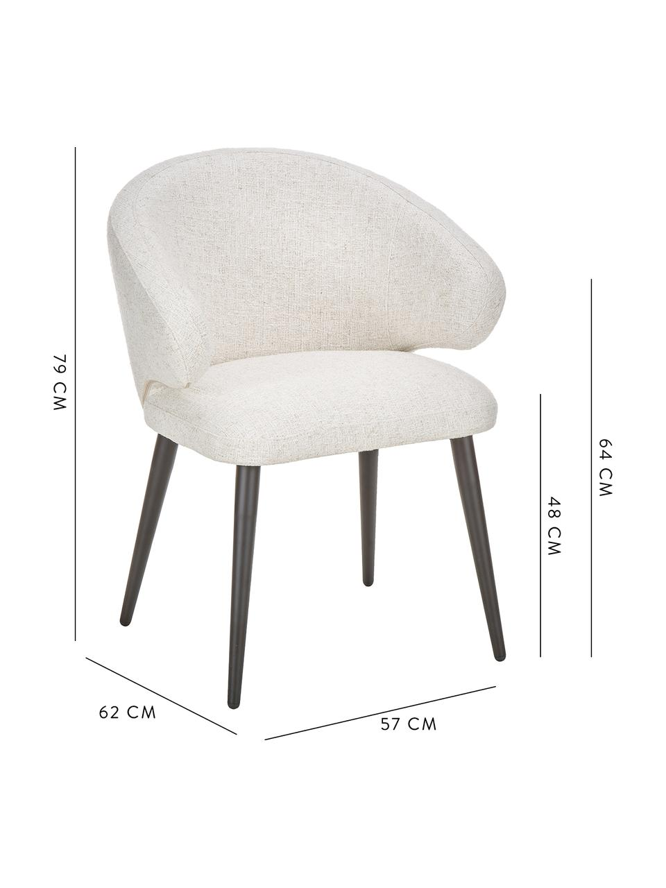 Bouclé-Armlehnstuhl Celia in modernem Design, Bezug: Bouclé (70% Polyester, 20, Beine: Metall, pulverbeschichtet, Bouclé Cremeweiß, B 57 x T 62 cm