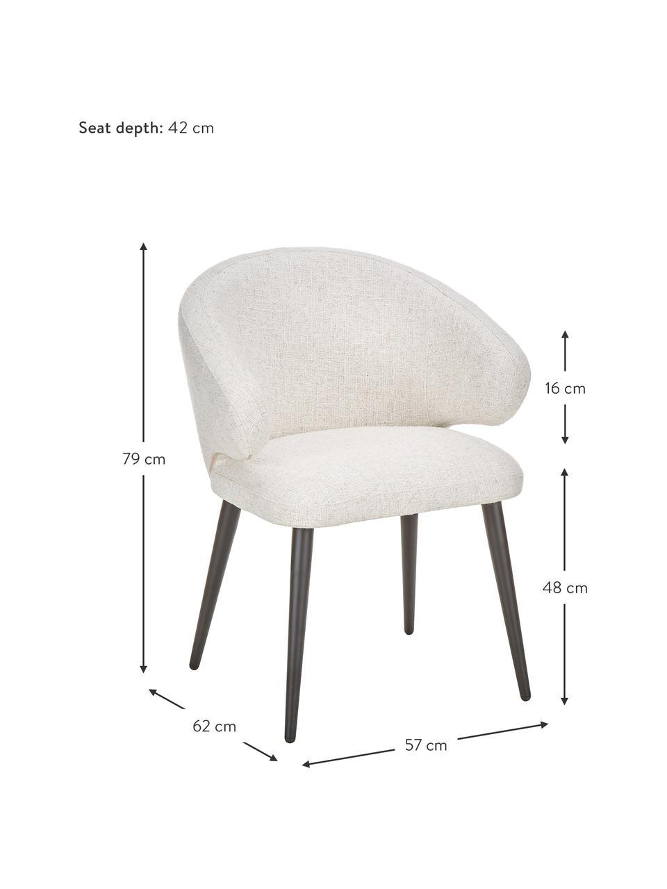 Krzesło z podłokietnikami bouclé Celia, Tapicerka: bouclé (70% poliester, 20, Nogi: metal malowany proszkowo, Kremowobiały bouclé, S 57 x G 62 cm