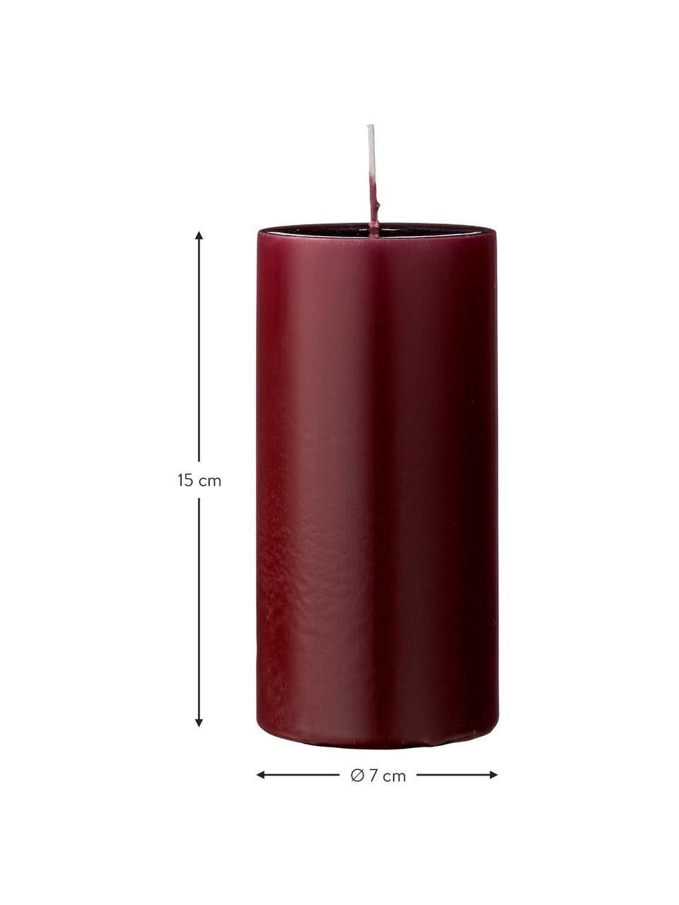 Stompkaarsen Lulu, 2 stuks, Was, Wijnrood, Ø 7 cm