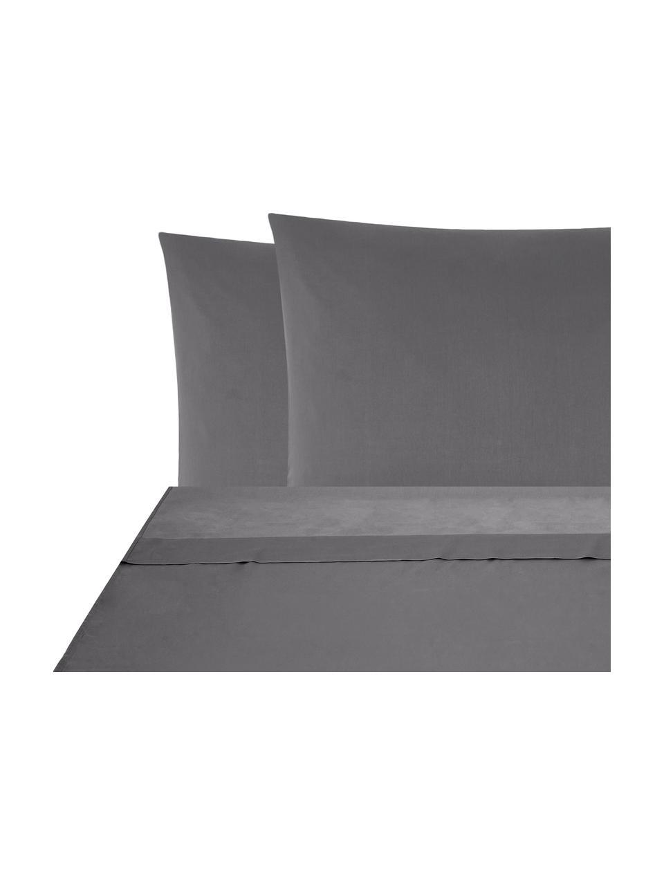 Set lenzuola in raso di cotone grigio scuro Comfort, Tessuto: raso Densità del filo 250, Grigio scuro, 240 x 300 cm + 2 cuscini 50 x 80 cm