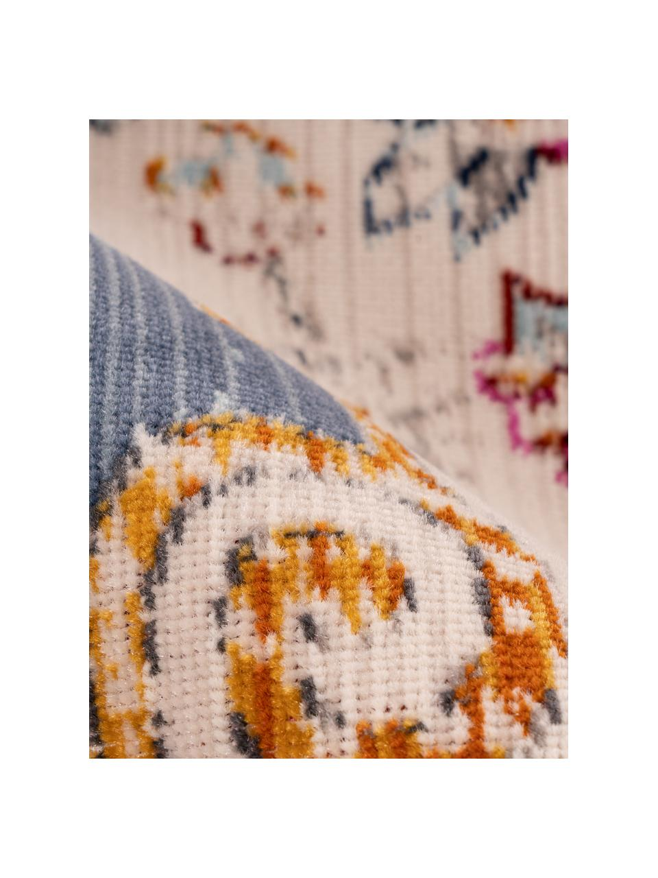 Niederflor-Teppich Sunita im Orient Style, Flor: 100% Polypropylen, Beige, Blau, Mehrfarbig, B 80 x L 150 cm (Größe XS)