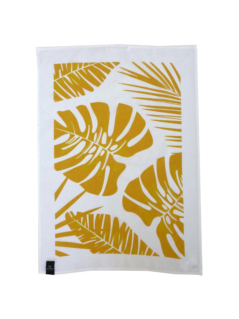 Halflinnen theedoeken Urban Jungle, 2 stuks, 50% linnen, 50% katoen, Wit, geel, 50 x 70 cm
