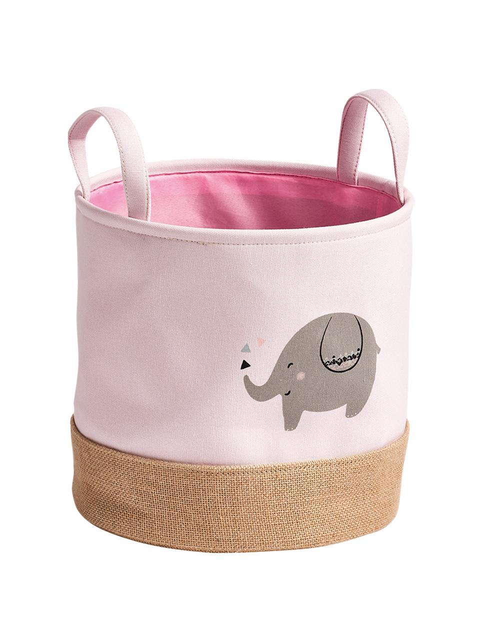 Panier de rangement enfant Elefant, Rose, gris, beige