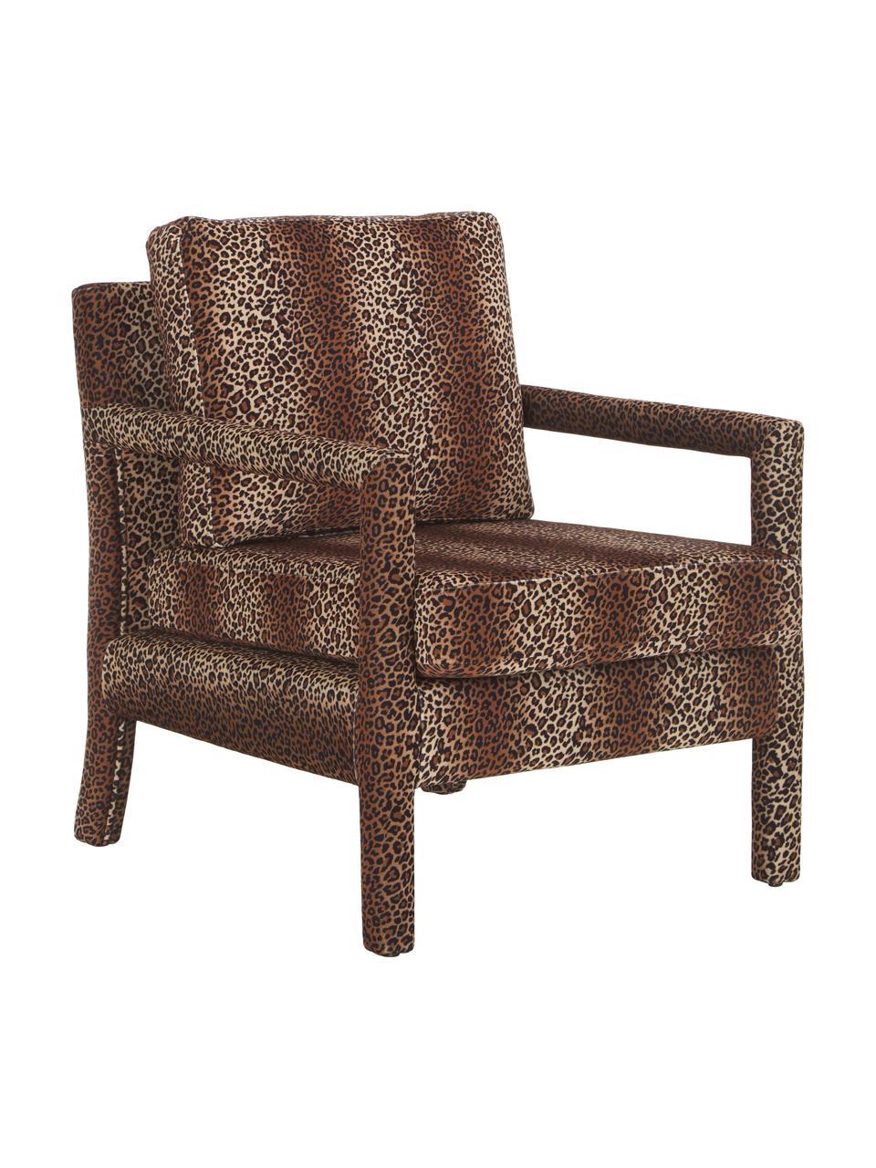Fotel z aksamitu Claudette, Tapicerka: aksamit (100% poliester) , Stelaż: lite drewno sosnowe, skle, Brązowy, czarny, S 65 x G 75 cm