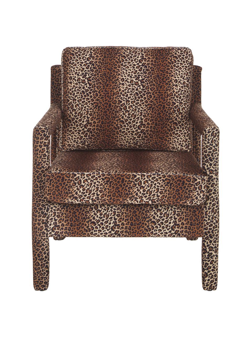 Fluwelen fauteuil Claudette met bruin luipaardpatroon, Bekleding: fluweel (100% polyester), Frame: massief grenenhout, multi, Bruin, zwart, 65 x 75 cm