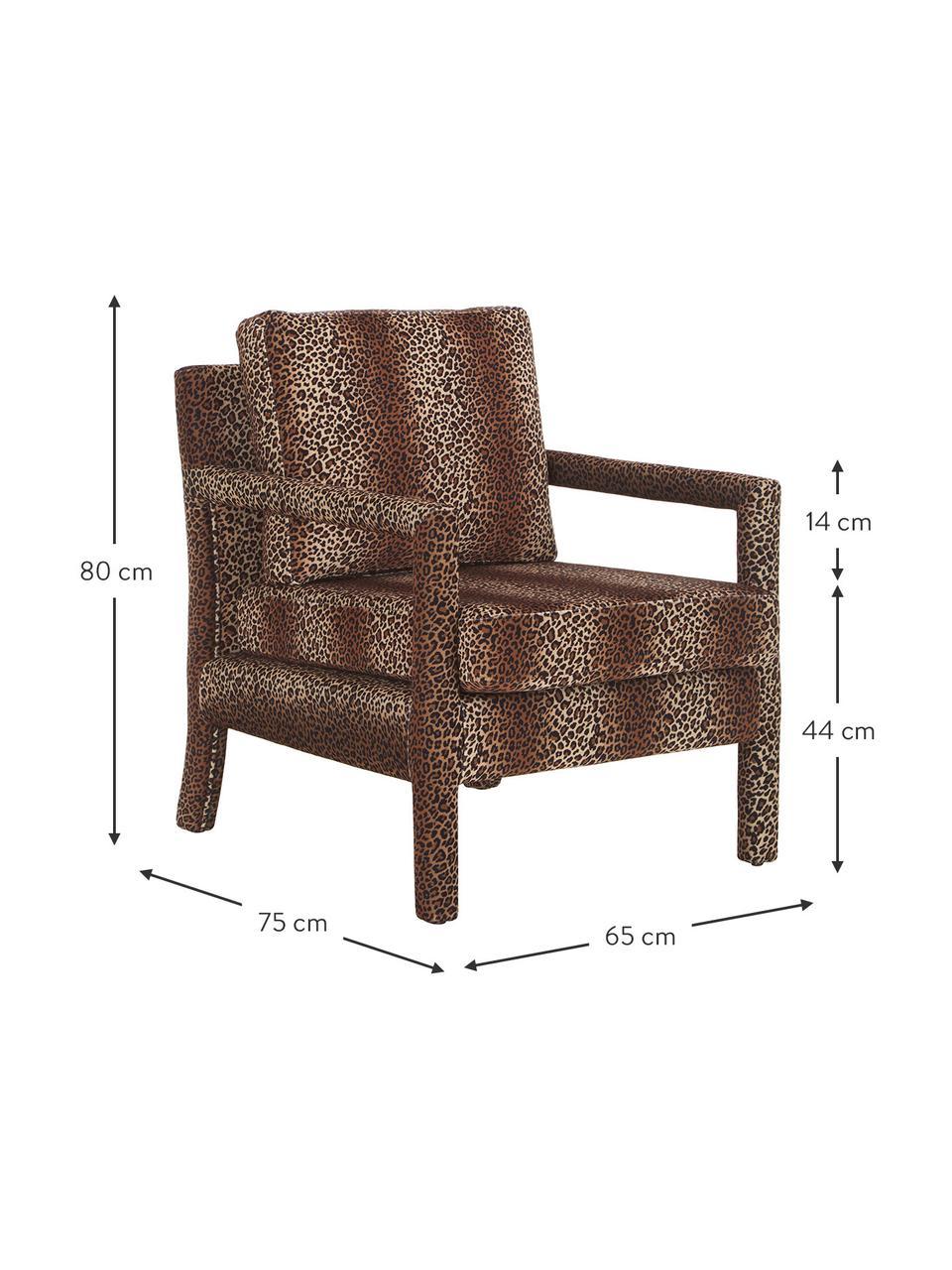Samt-Sessel Claudette mit braunem Leo-Muster, Bezug: Samt (100% Polyester) Der, Gestell: Massives Kiefernholz, Spe, Samt Braun, B 65 x T 75 cm
