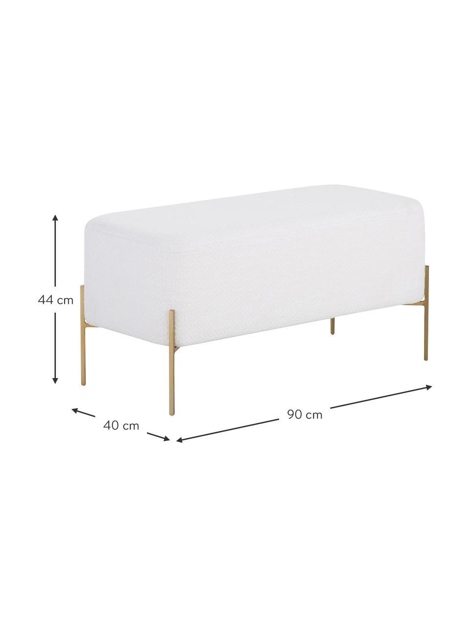 Bouclé-Polsterbank Harper, Bezug: Baumwolle, Fuß: Metall, pulverbeschichtet, Bouclé Creme, Goldfarben, 90 x 44 cm
