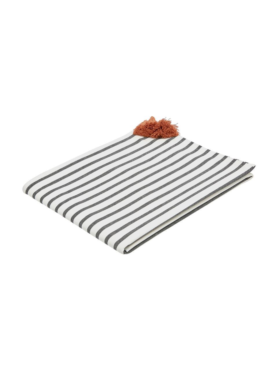 Tovaglia Aria, Cotone, Nero, bianco, Per 8-10 persone (Larg. 140 x Lung. 270 cm)