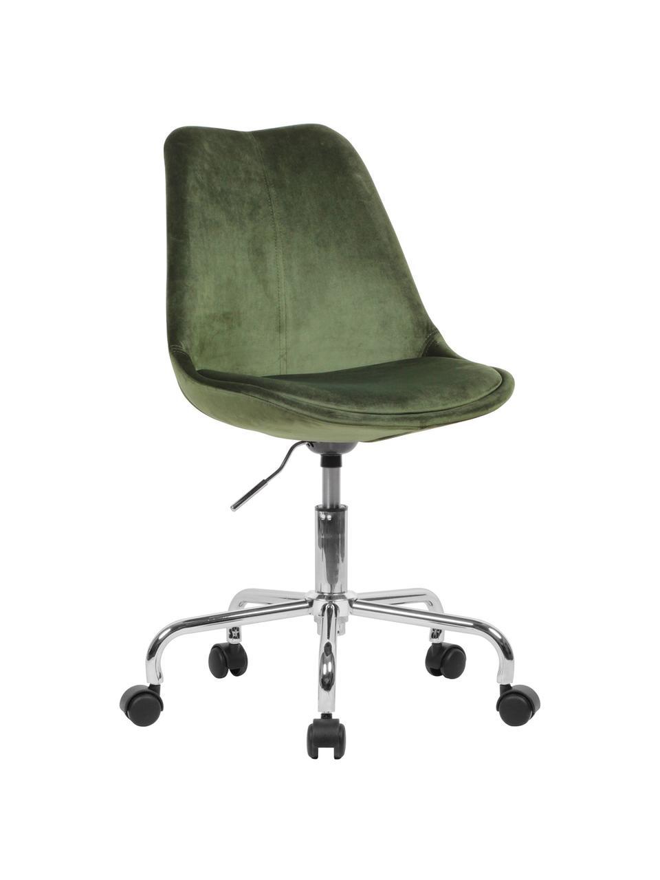 Biurowe krzesło obrotowe z aksamitu Lenka, Tapicerka: aksamit, Stelaż: metal chromowany, Aksamitny zielony, S 65 x G 56 cm