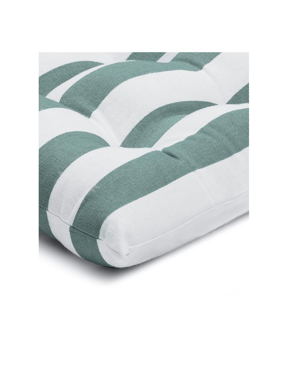 Cuscino sedia a righe verde salvia/bianco Timon, Rivestimento: 100% cotone, Verde, Larg. 40 x Lung. 40 cm