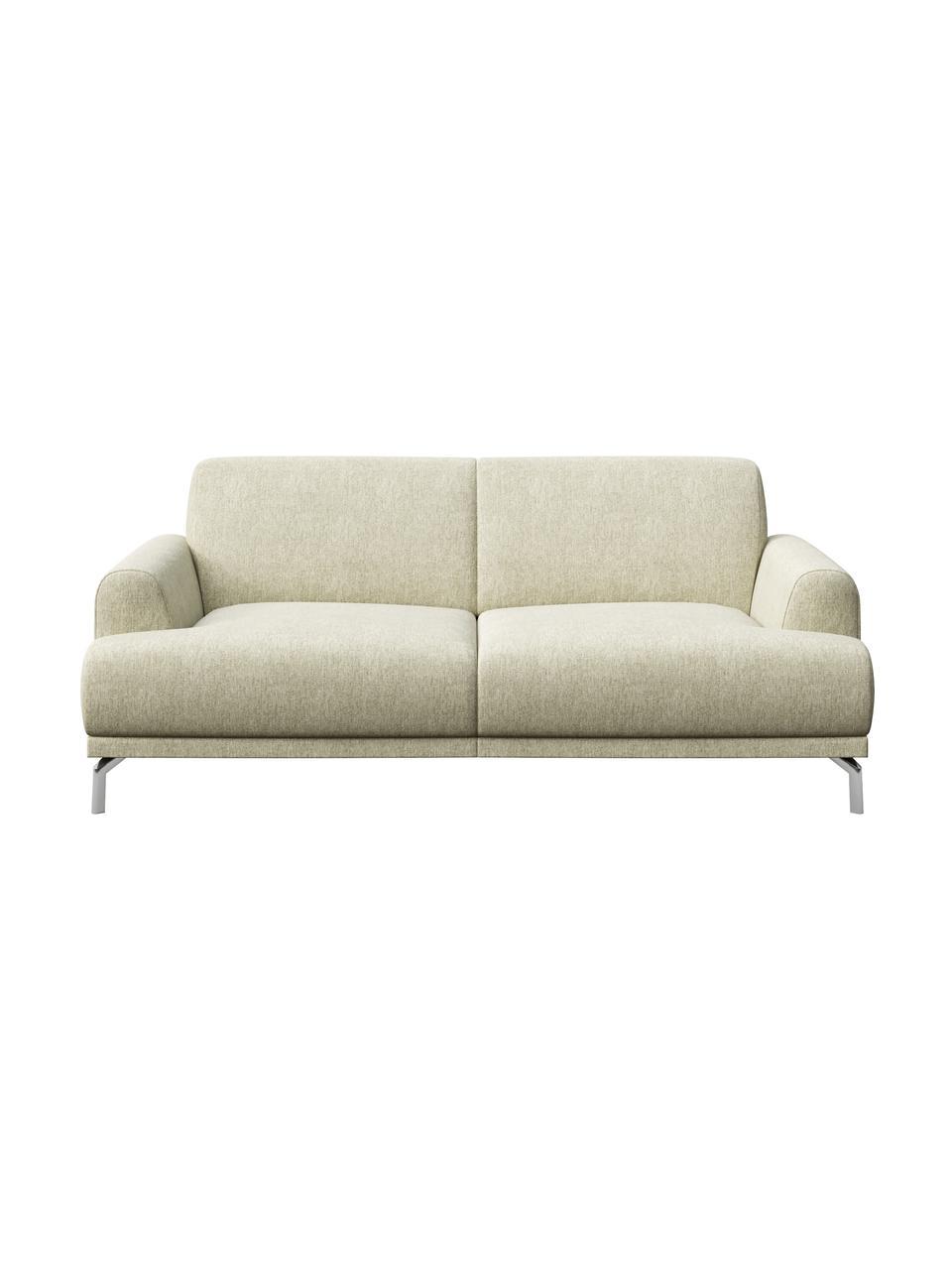 Sofa Puzo (2-osobowa), Tapicerka: 100% poliester, Nogi: metal lakierowany, Jasny beżowy, S 170 x G 84 cm