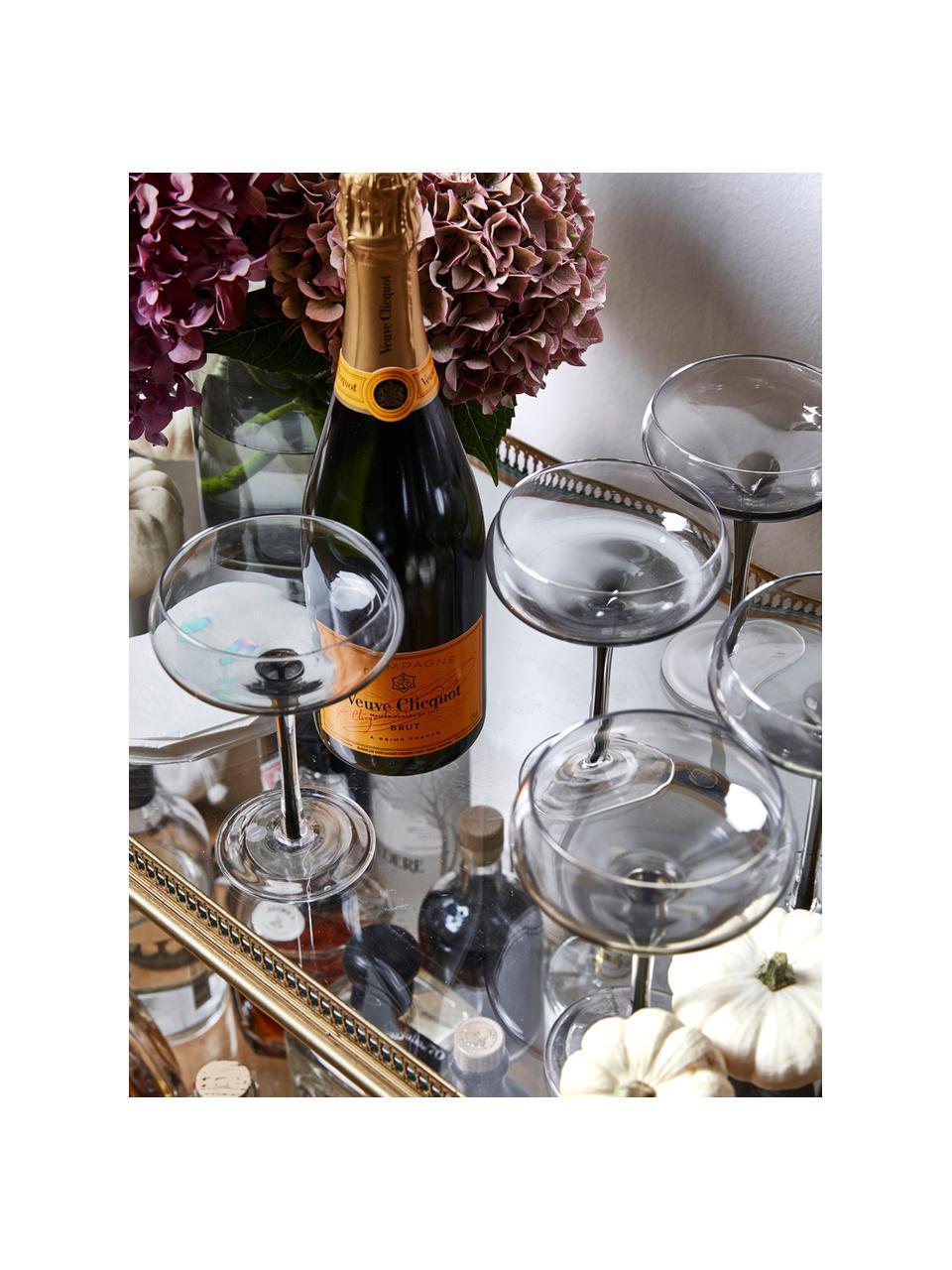 Mundgeblasene Champagnerschalen Smoke mit grauem Farbverlauf, 4 Stück, Glas, Transparent, Rauchgrau, Ø 11 x H 16 cm