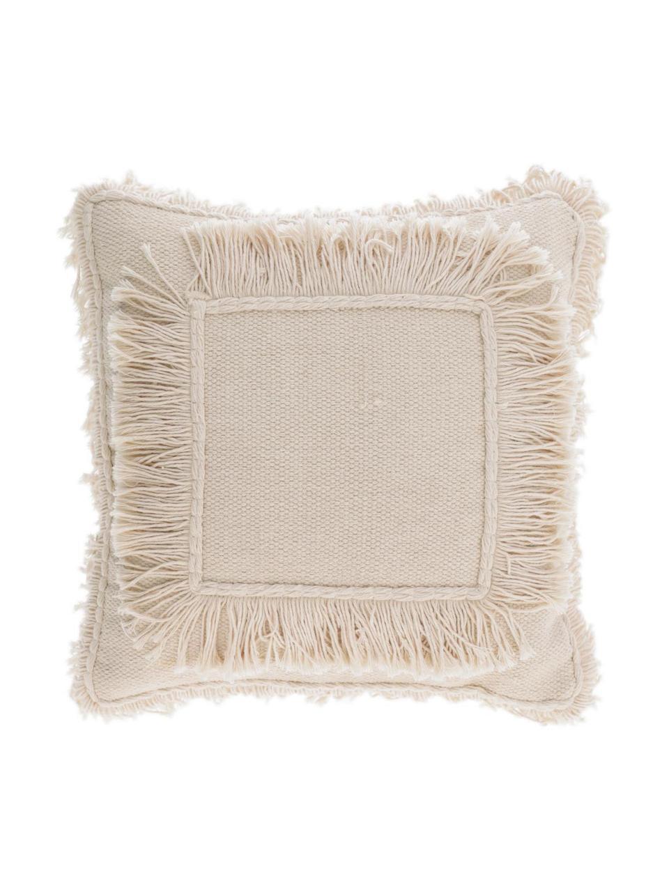 Poszewka na poduszkę w stylu boho z frędzlami Edelma, 100% bawełna, Beżowy, S 45 x D 45 cm