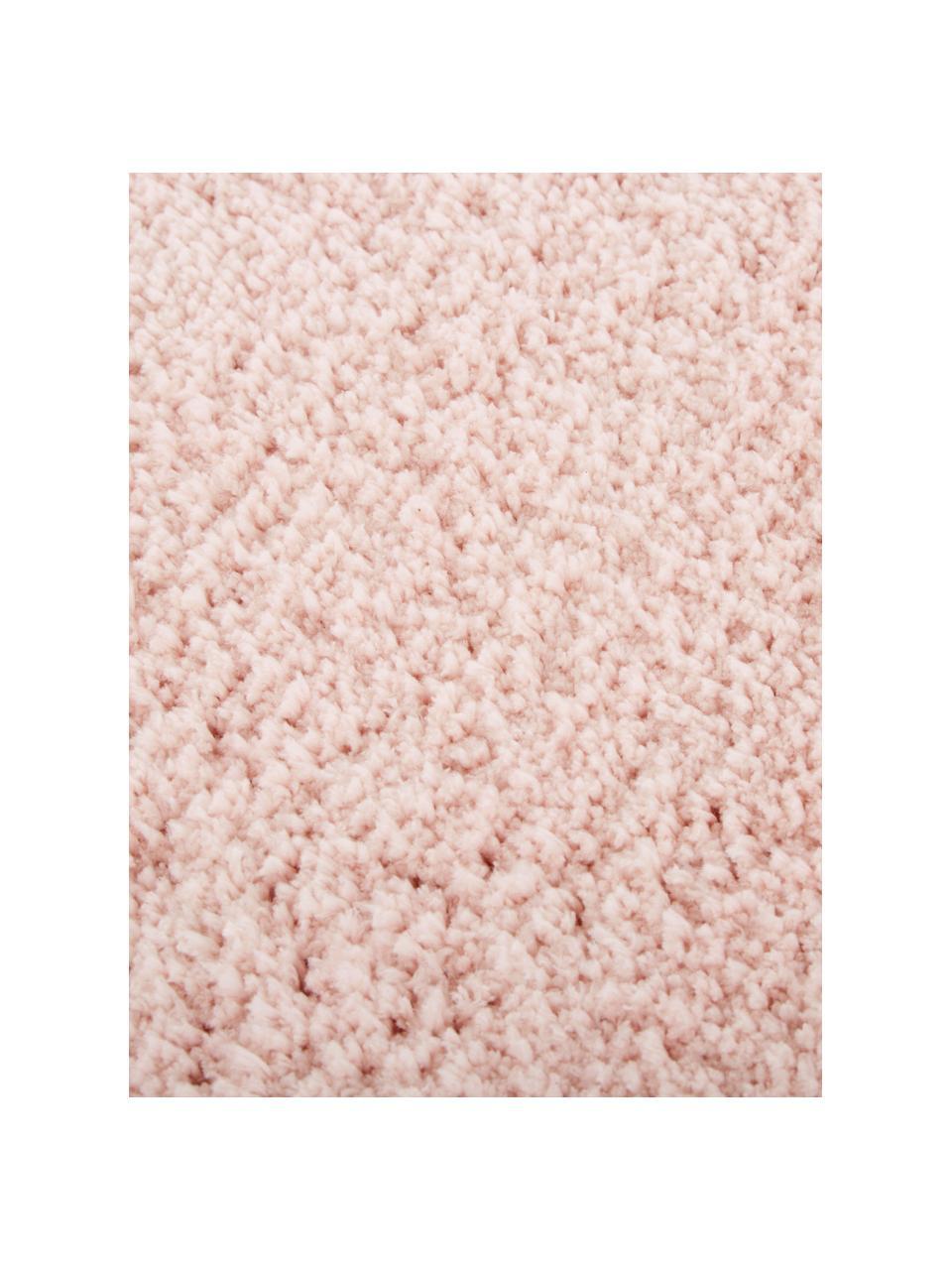 Tappeto soffice a pelo lungo rosa Leighton, Retro: 70% poliestere, 30% coton, Rosa, Larg. 80 x Lung. 150 cm (taglia XS)