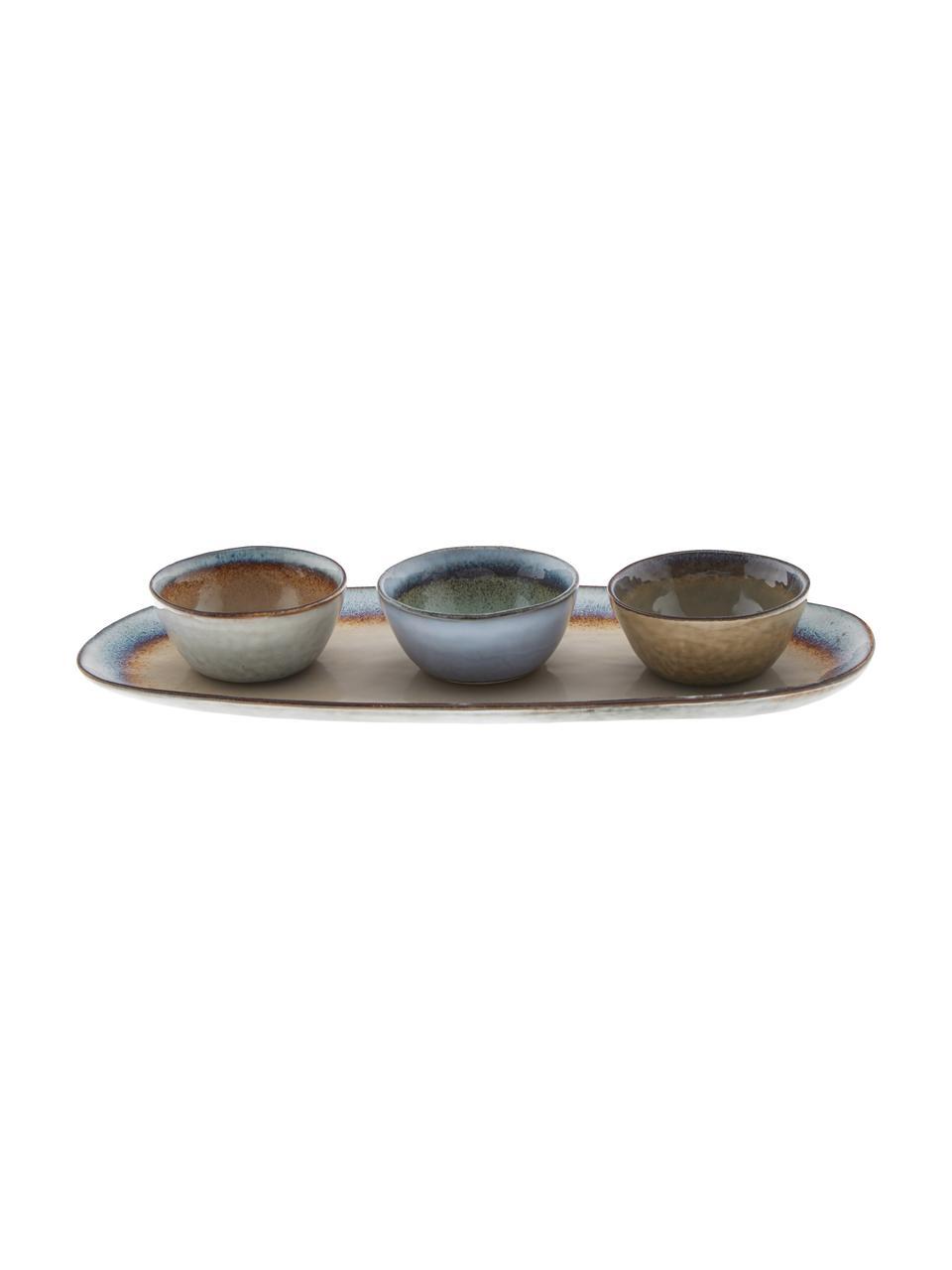 Komplet ręcznie wykonanych misek do dipów Nomimono, 4 elem., Kamionka, Wielobarwny, Komplet z różnymi rozmiarami