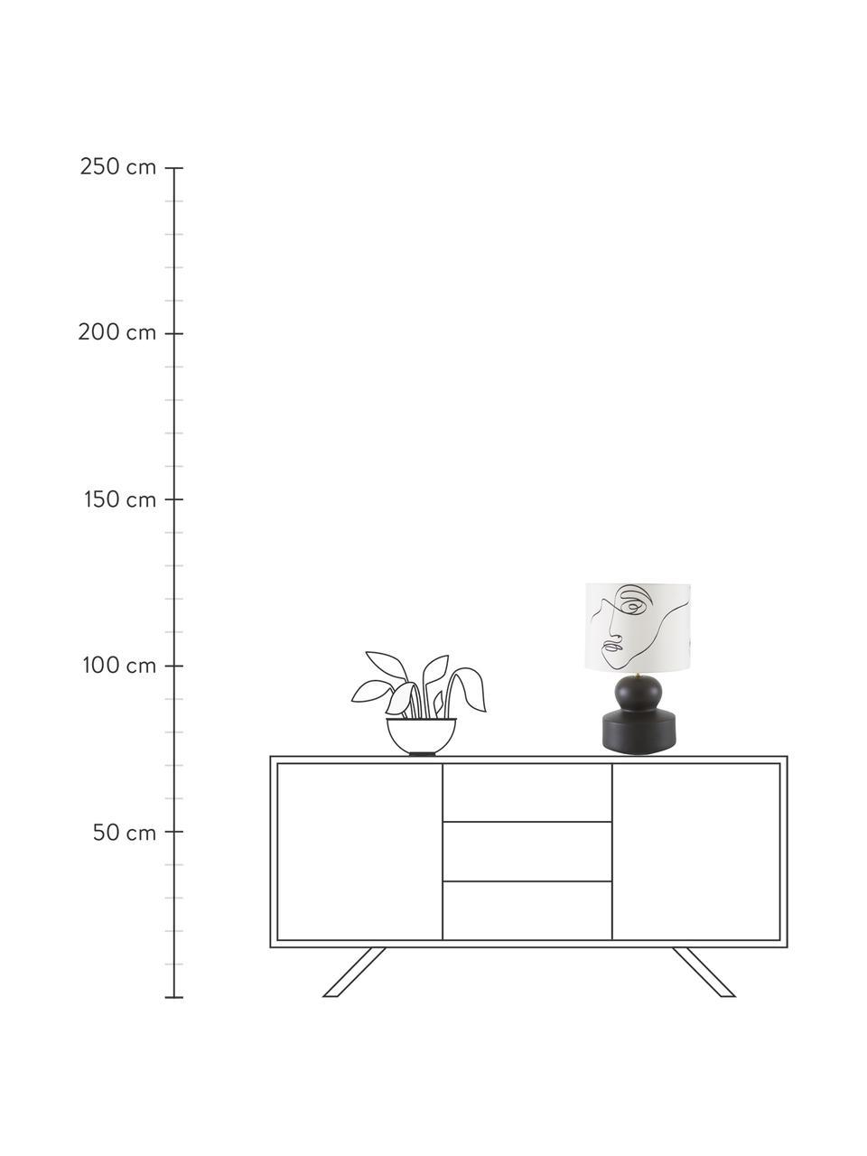 Lampada da tavolo con base in ceramica Georgina, Paralume: tessuto, Base della lampada: ceramica, Decorazione: metallo ottonato, Bianco crema, nero, Ø 33 x Alt. 52 cm